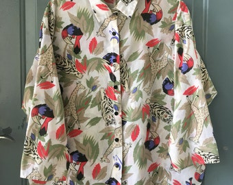 vintage oversized jungle print button up