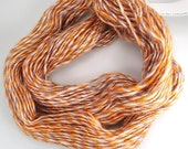 Leicester Longwool yarn, orange wool yarn, Leicester yarn, orange, lilac and cream yarn, wool yarn