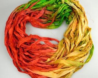 Silk Sari Ribbon, Sari Ribbon, gradient dyed ribbon, Rug supply, weaving supply, yellow sari ribbon, green sari ribbon, wrapping ribbon