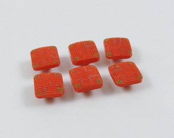 Set of 6 Vintage Red Diminutive Painted Square Glass Buttons