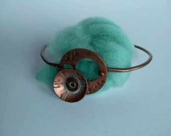 Wool & Copper Cuff Cosmic Poppy Series in Amazon handcrafted recycled copper wire and fabricated  copper and wool focal
