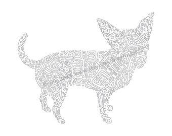 Chihuahua Dog Printable Coloring Page, Adult Coloring, Pen and Ink, Chihuahua Digi, Inklets Illustration, Instant Digital Download JPG