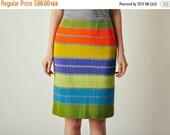 ON SALE Vintage Bright Plaid Pencil Skirt