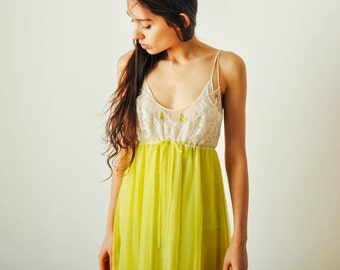 Vintage Lime Green Slip Dress