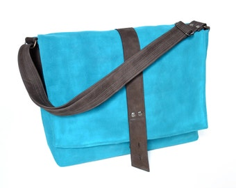 Messenger Bag for Student, Waxed Canvas Bag, Crossbody Laptop Bag, Waxed Canvas Messenger - The Sloane Bag in Marine Blue