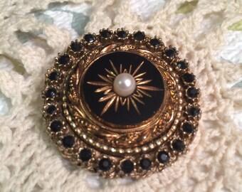 UNIQUE Vintage Gold tone Black Rhinestone pearl STARBURST mid century Brooch Rhinestone Jewelry Brooches pin