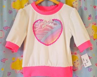 Pastel rainbow shirt, half sleeve sweater pullover fairy kei size M medium