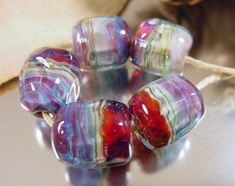 Handmade lampwork glass beads, Artisan glass beads, organic style beads, pink beads, purple beads, ruby beads, blue beads, barrel beads, SRA