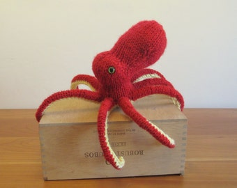 Octopus Stuffed Animal, Plush Octopus Fiber Art Sculpture, Handknit Red