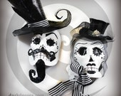 Victorian Tim Burton Inspired - Decorative Skull Masks - Set of 2 - His and Hers - Corps Bride Style - Wall Hangings - Gothic Home Decor