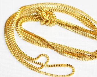 10ft  gold  plated box  chain 2mm, gold plated beading chain
