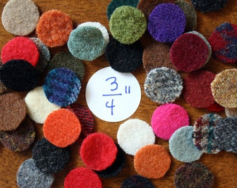 Felted Wool Circles -- 50 Wool Pennies -- 3/4-inch