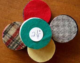 50 - 2-1/4 inch - Felted Wool Circles