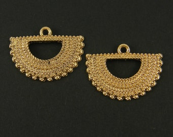 Gold Tribal Crescent Earring Findings Crescent Moon Boho Gypsy Jewelry Component |G16-12|2