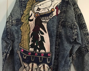 Vintage 80s Handpainted Stone Wash Jean Jacket - Medium