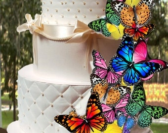 EDIBLE BUTTERFLIES-Multi-Color Assortment - Butterfly Cake & Cupcake Toppers - Edible Cake Decorations