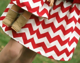 Matching Girl and Doll Clothes fits American Girl Doll - Christmas/Valentine Chevron Skirts, Many Sizes Available