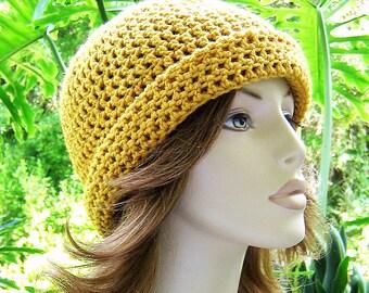 BEANIE Cloche SUNGOLD Crochet Hat  //   Womens Accessories  //  Flapper Cloche - Skull Cap - Ski Hat  ...  Ready-to-Ship