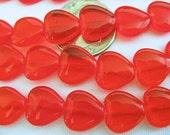 50 Light Siam Red Czech Glass Heart Beads 10mm