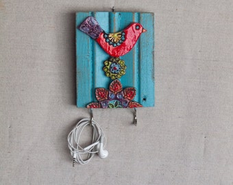 Red Bird Key Hook READY TO SHIP Accessory Hanger Repurposed Trim Wall Art Colorful Ceramic Tiles Pottery Whimsical Scandinavian Folk Style
