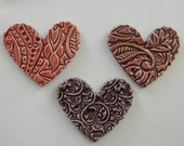 NEW PRICE 3 embossed ceramic hearts with scalloped edges