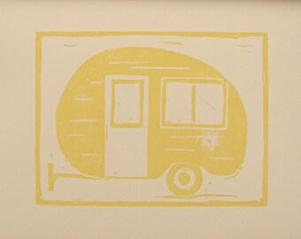 Vintage Trailer Print, A Nostalgic Road Trip in Lemon Cream, Vintage Inspired Travel Art Camper Print Yellow Travel Trailer
