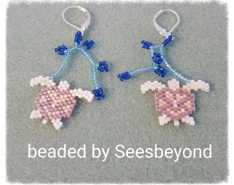 Tiny Hand Beaded Albino Turtle  Earrings