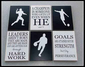 Inspirational Sports Plaque - Six 6x8 wood tiles with vinyl lettering