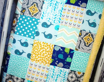 Nursery Quilt, Baby Quilt , Patchwork Quilt, Blue , Yellow  Minky Backed Quilt
