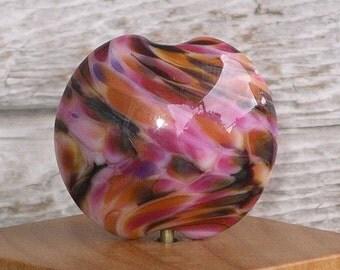 Handmade Glass Lampwork Lentil Focal Bead - Tropical Sunset