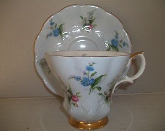 Royal Albert Bone China Cup & Saucer, Lilly of the Valley, Roses, Blue Floral, Tea Cup