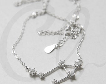 Libra Necklace - Crystal Zodiac Pendant - White Gold Plated on S925 Sterling Silver - Horoscope - Star Sign (N154)
