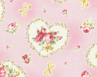 SALE Pink Heart Roses 31266 20 by Lecien Fabrics Princess Rose Clearance