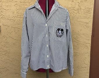 Vintage Mickey Mouse Jerry Leigh Black White Striped Blouse sz M