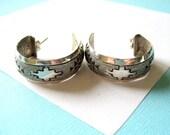 RESERVED..Navajo Sterling Silver Stamped Hoop Earrings