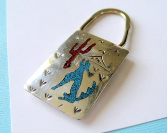 Navajo Sterling Silver and Turquoise Chip Inlay Key Ring Howling Wolf