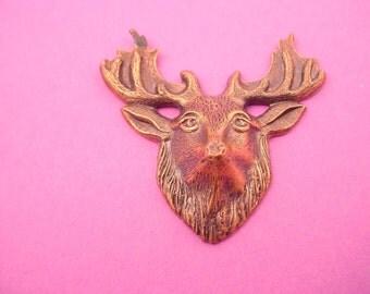 1 antique brass Ox Deer moose Head Stampings 40mm