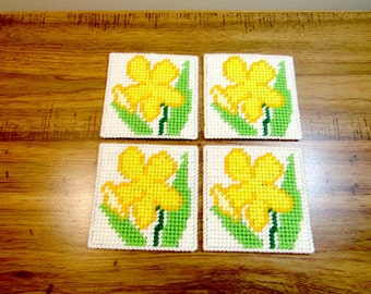 Jonquil Floral Coasters. Jonquil (daffodil family) Beverage Coasters. Jonquil Drink Coasters Set. Kitchen Decor. Home Decor.  Ready-to-Ship