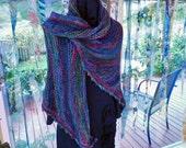 Handknit Shawl Using Handpainted Soft Merino Yarn in Shades of Blue,Green, Burgundy And Rust