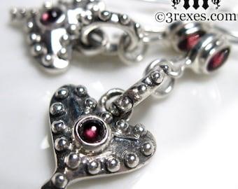 Silver Studded Heart Earrings Punk Rock Fairy Tale Garnet January Birthstone