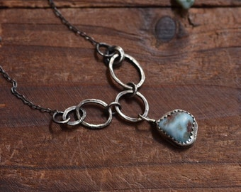 Larimar Bezel Necklace - Oxidized Sterling Silver Necklace - Silver Link Necklace - Metalwork Necklace - Rustic Necklace