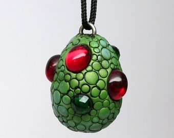 SUMMER SALE Super SALE! Dragon Egg Necklace, Polymer clay and Vintage Cabochons