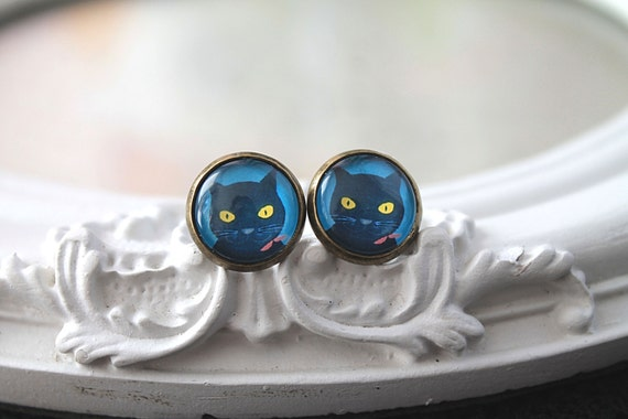 Cat earrings sweet lolita feminine black  kitty kitten kitteh post stud basement cat