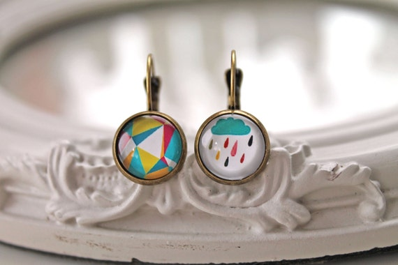 Mismatched rain cloud and geometric pattern leverback earrings sweet lolita feminine French hooks