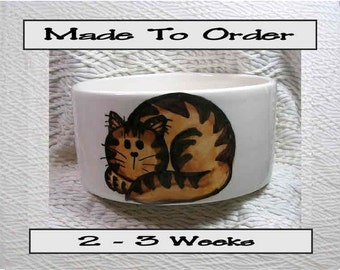 Brown Tabby Cat Bowl Handmade To Order With Paw Prints Inside 20 Oz. Ceramic By Grace M Smith