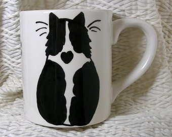 Cat Mug Black And White Cat With Heart Handmade In Clay by GMS