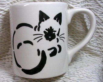 Siamese Stencil Design Cat Mug Handpainted Ceramic by Grace M Smith