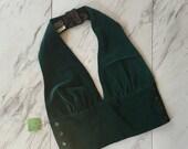 Vintage 1970s green velevt halter / xsmall velvet halter top