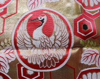 Vintage Kimono Obi Fabric - Bag 10 - Elaborate Auspicious Cranes Obi Panel
