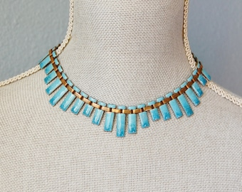 Vintage 1950s Renoir Blue Enamel on Copper Necklace Mid Century Modernist Choker